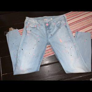 True religion paint splatter skinny jeans Sz 30